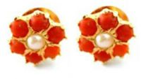 22 CRT Gold Plating Pure Pearls & Coral Tops