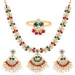 Gold Plated Ad Necklace-earring-ring Set