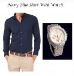 Stylish Navy Blue Shirt With Stylish Watch 101