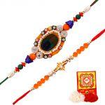 Rakshabandhan Shinning Stones N Beads Rakhi Sets