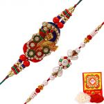 Rakshabandhan Designer Peacock Shape Pearl N Beads Rakhi Sets