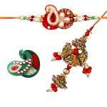 Rakshabandhan Red N Green Color Lumba Rakhi Set
