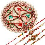 Rakshabandhan Swastik Tikka Pooja Thali With Colorful Rakhis