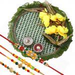 Rakshabandhan Rakhi Tikka Pooja Thali With Colorful Rakhis