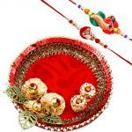 Rakshabandhan Red Charm Tikka Thali With Pearl N Beads Rakhis