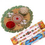 Rakshabandhan Glossy Tikka Thali With Pearl N Mauli Rakhis