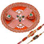 Rakshabandhan Vibrant Color Pearl Tikka Thali With Trendy Rakhis