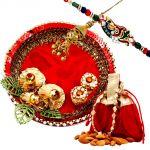 Rakshabandhan Glossy Thali With Almonds N Bhayia Bhabhi Rakhi