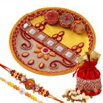 Rakshabandhan Dazzling Thali With Bright Rakhi N Dryfruit