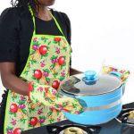 Eci - 3pc Set Kit - Kitchen Apron, Oven Gloves & Hot Utensil Pot Holder