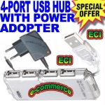 4 Port USB Hub With Power Adapter