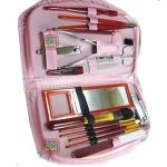 Eci - 15pc Manicure Pedicure Nail Cutters Set & Makeup Brushes Kit In Purse