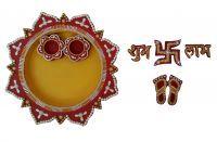 Inditradition Handicraft Pooja Thali With Free Diya, Swastik, Subh-labh, Laxmi Charan Paduka