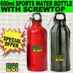 600ml Aluminium Sports Bottle Water Flask Screwtop