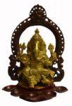 Beautiful Carved Brass Pooja Diya/oil Lamp W/sitting Ganesha/ganesha Idol