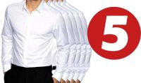 Formal White Plain PC Cotton Shirts - Pack Of 5