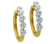 Avsar Real Gold And Diamond Bali Shape Earrings