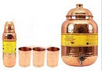 Copper Hammered Set Of 1 Water Pot 8.0 Ltr. With 3 Bottle 800 Ml Each & 3 Glass 300 Ml Each - Tableware