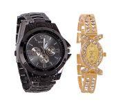 Rosra Black Round Analog Watch (buy 1 Get 1)
