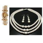 Buy 1 Ladies Bracelet Watch & Get Three Line Pearl Necklace Set Free