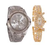 Rosra Silver Round Analog Watch (buy 1 Get 1)