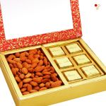 Diwali Hampers - Pink 2 Part Almonds And Chocolate Box