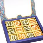 Ghasitaram Gifts Diwali Gifts - Diwali Sweets- 12 PCs Blue Printed Assorted Mango Bites Box