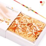 Rakhi Gifts For Brother Abroad - Delicious Milk Cake With Rudraksh Rakhi