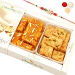 Rakhi Gifts Sweets- Mysore Pak And Methi Mathri Hamper With Rudraksh Rakhi