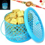 Rakhi Chocolates-big Blue Metal Light Mixed Nuts Chocolate Basket With Om Rakhi