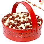 Rakhi Chocolates-big Red Metal Nutties Basket With Om Swastik Rakhi