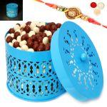 Rakhi Chocolates-blue Metal Light Nutties Basket With Om Rakhi