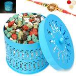 Rakhi Chocolates-blue Metal Light Stone/ Rock Chocolates Basket With Om Rakhi