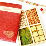 Rakh N Chocolates For Brother Abroad - Celebration Almonds, Pistachios, Kiwi And Chocolate Box With Pearl Rakhi