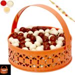 Rakhi Chocolates-orange Metal Light Nutties Basket With Pearl Rakhi