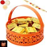 Rakhi Chocolates-orange Metal Light Roasted Almond Chocolate Basket With Pearl Rakhi