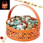 Rakhi Chocolates-orange Metal Light Stone/ Rock Chocolate Basket With Pearl Rakhi