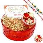Rakh N Dryfruits For Brother Abroad - Big Red Metal Basket Hamper Of Kaju Katli , Almonds, Mini Pooja Thali And Set Of 2 Rakhis