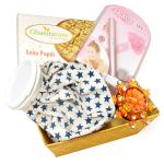 Ghasitaram Gifts- Rakhi Gifts For Sisters- Sisters Basket Hamper With Soan Papdi