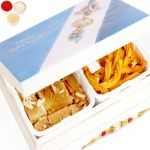 Rakhi Sweets- Happy Rakhi Wooden Box Chakli And Mysore Pak Hamper With Pearl Rakhi
