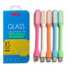 Snaptic 2.5d Curved EDGE 0.33mm Flexible Tempered Glass And Flexible USB LED Lamp For Samsung Galaxy S5 I9600
