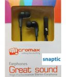 Micromax Black In Ear Stereo Headset Earphones With Mic For Micromax Canvas Selfie 2 Q340
