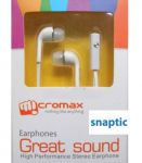 Micromax White In Ear Stereo Headset Earphones With Mic For Bling 3 A86