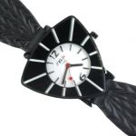 Woman Wrist Watch With Leather Belt Round