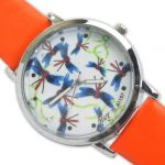 Woman Wrist Watch With Leather Belt Orange