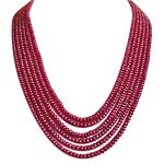 Surat Diamond 310 Cts 6 Line Real Ruby Beads Necklace 310 Cts Ruby Necklace