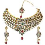 Surat Diamond Traditional Red & Green Coloured Stone & Kundan Gold Plated Necklace Earring & Manga Tikka Set For Women Ps271