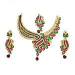 Surat Diamond Green & White Coloured Stone, Pink & Green Enamelled Gold Plated Necklace Earring & Manga Tikka Set For Women Ps276