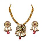 Surat Diamond Ethnic Round Shaped Red, Green & White Stones & Gold Plated Pendant Necklace & Earring Set With Enamel Ps287