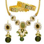 Surat Diamond Fancy Green & White Stone Set With Rajasthani Kadas Ps29+pk3
